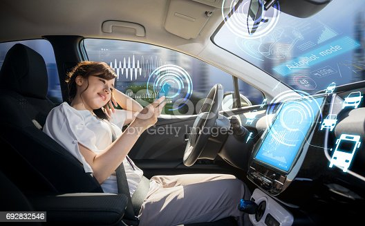 istock woman using smart phone in autonomous car. self driving vehicle. autopilot. automotive technology. 692832546