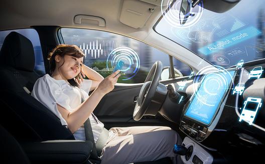 Mujer De Teléfono Inteligente Que Usa En Coche Autónoma Mismo Vehículo Piloto Automático Tecnología Automotriz Foto de stock y más banco de imágenes de Abstracto
