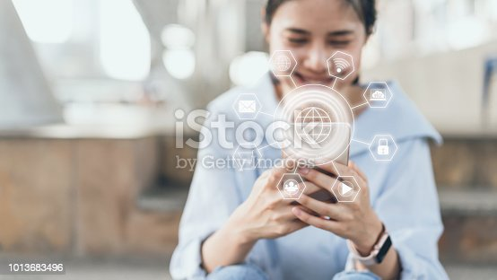 istock Woman using smartphone and show sign technology icon. Concept of future and trend internet for easy access to information. 1013683496