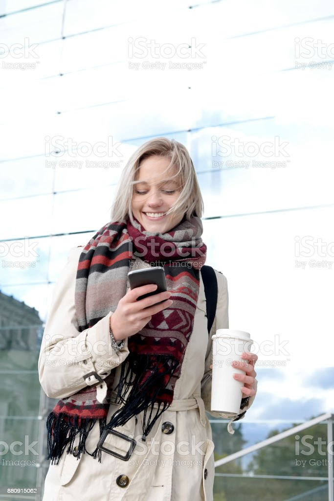woman using smartphone stock photo