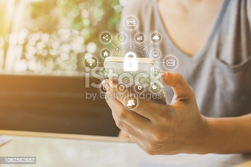 istock Woman using smartphone with icon graphic cyber security network of connected devices and personal data information 1062562652