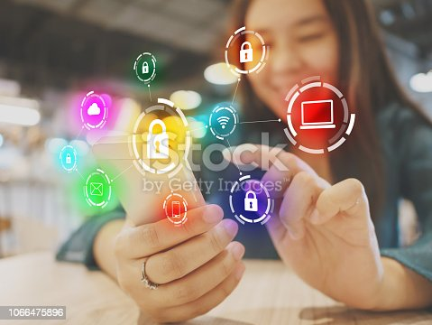 istock Woman using smartphone with icon graphic cyber security network of connected devices and personal data information 1066475896