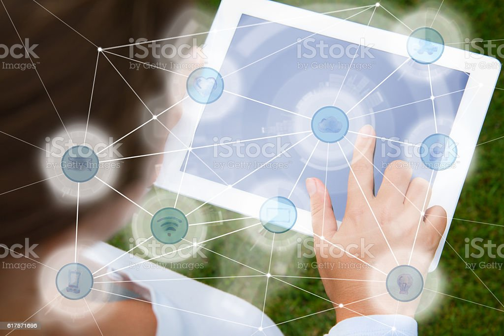 Woman using social network Woman using social network on tablet - IOT and networking concept Accessibility Stock Photo