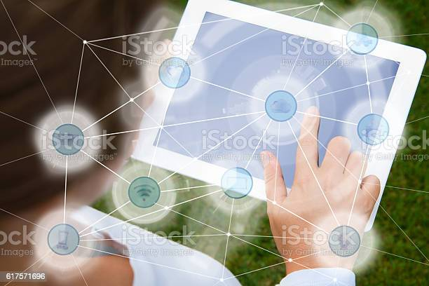 Woman Using Social Network Stock Photo - Download Image Now