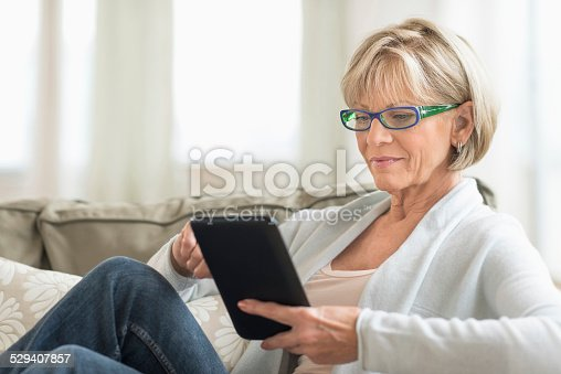 istock Woman Using Tablet Computer On Sofa 529407857