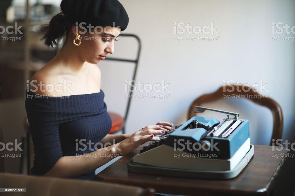 Woman Using Typing Retro Typewriter Machine Work Writer.
