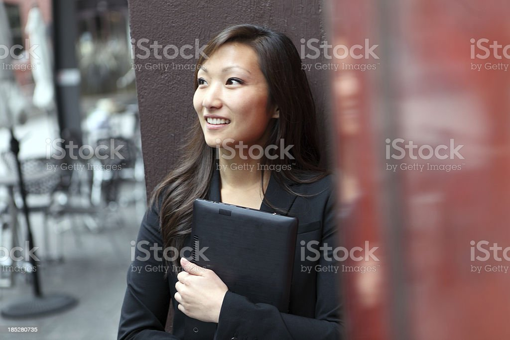 Woman Using Web Tablet stock photo