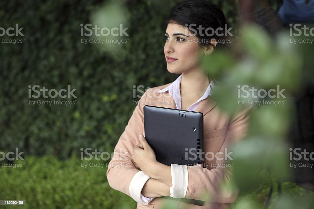 Woman Using Web Tablet royalty-free stock photo