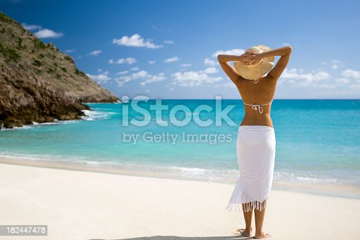 istock Woman vacationing at tropical beach in Caribbean 182447478