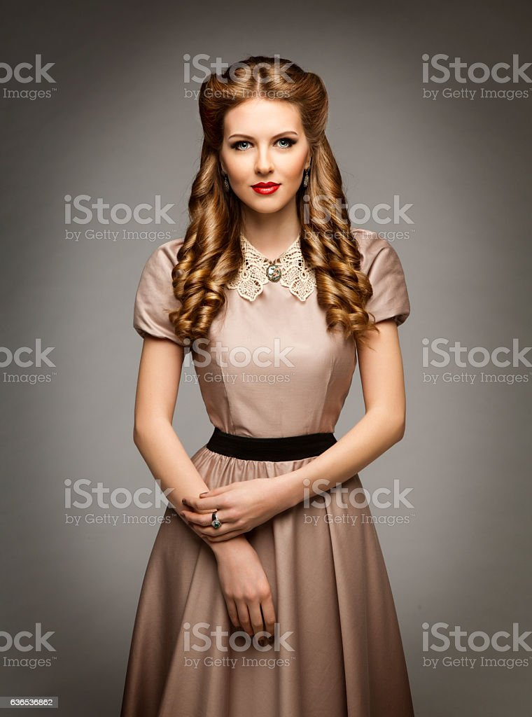 Woman Victorian Historical Age Dress, Beautiful Curly Hairstyles, Collar Clothes stock photo
