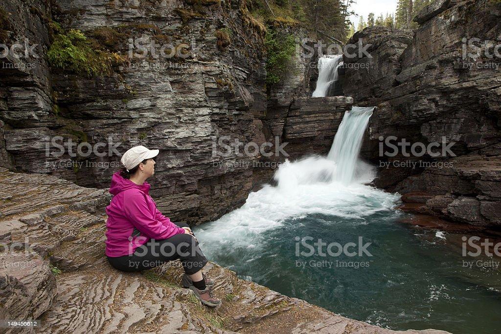 Woman Viewing Waterfall royalty-free stock photo