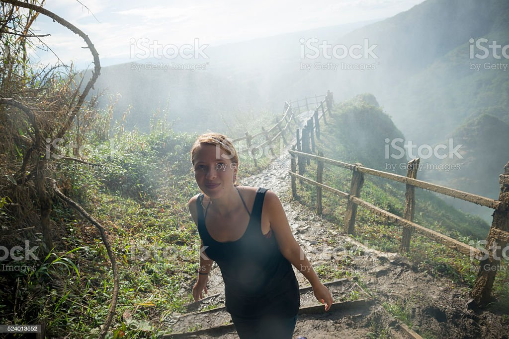 Woman visiting El Chiflon waterfall in Chiapas, Mexico stock photo