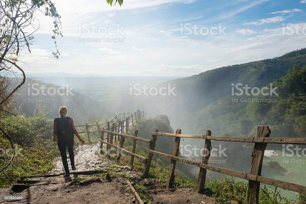 Woman visiting El Chiflon waterfall in Chiapas, Mexico stock photo