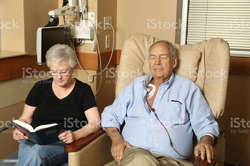 Woman Visits Husband in the Hospital stock photo
