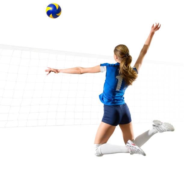女子軟式排球運動員孤立 (ver 網與球) - 殺球 個照片及圖片檔