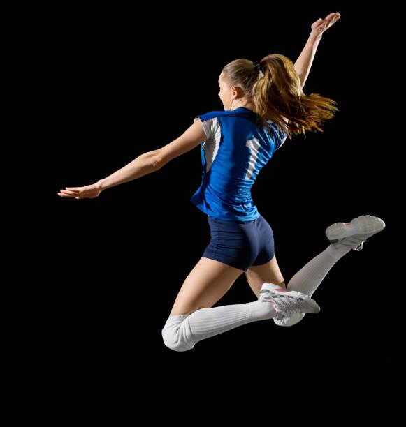 女子排球運動員 (無球版本) - 殺球 個照片及圖片檔