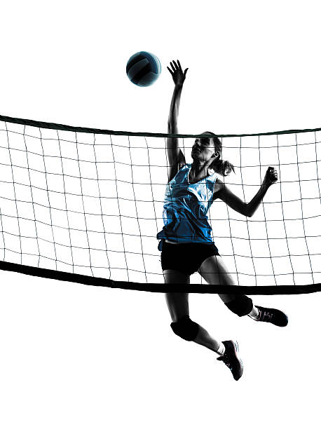 woman volleyball players isolated silhouette - volleyball stock photos and pictures