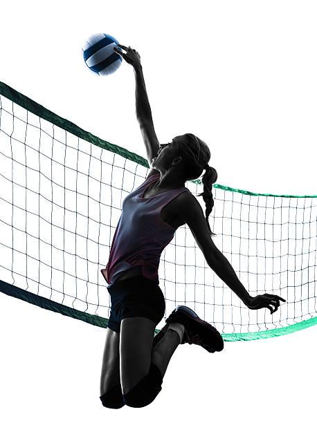 reproductores silueta de mujer aislados de voleibol - juego de vóleibol fotografías e imágenes de stock