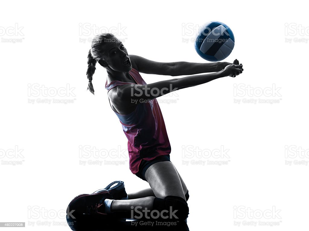 Femme silhouette de joueurs de volley-ball isolé photo libre de droits