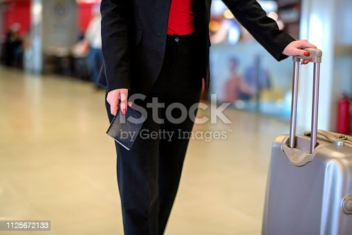 istock Woman waiting at the airport 1125672133