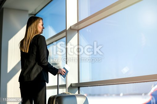 istock Woman waiting at the airport 1125686729
