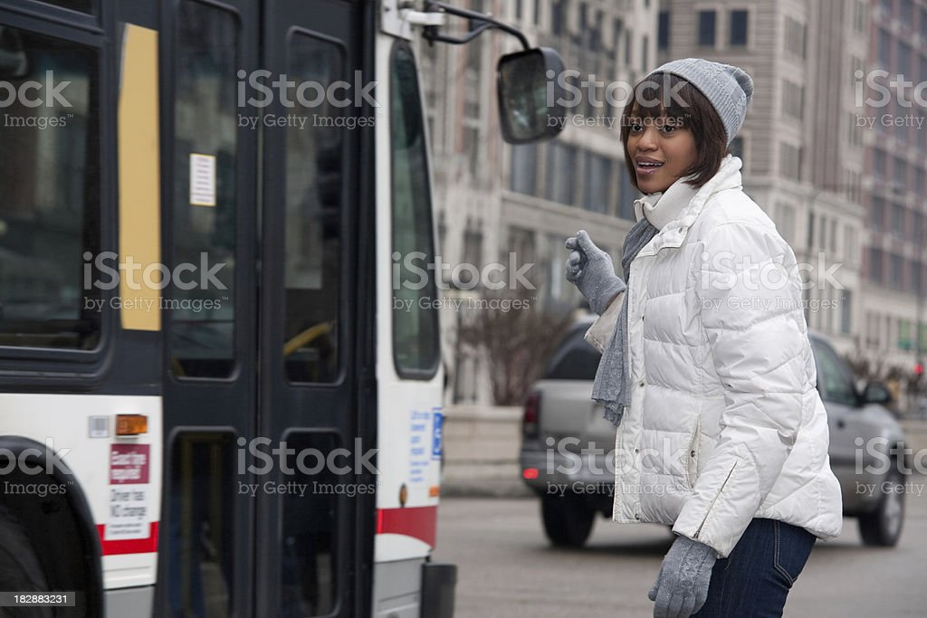 Woman Waiting for a Chicago Bus royalty-free stock photo
