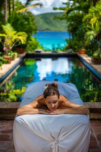 woman waiting for a massage at a beautiful villa in Caribbean