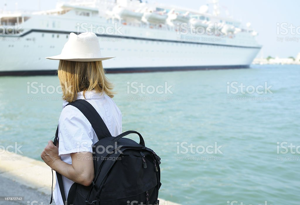 Woman Waiting for Cruise Ship royalty-free stock photo