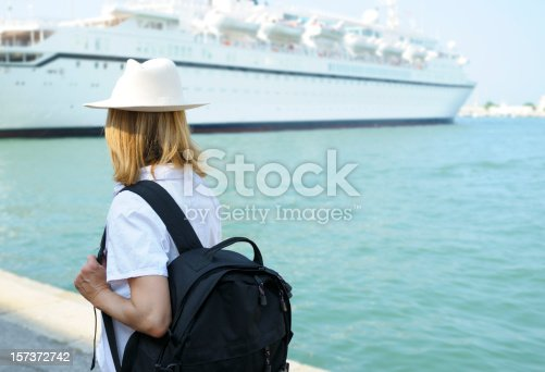 istock Woman Waiting for Cruise Ship 157372742