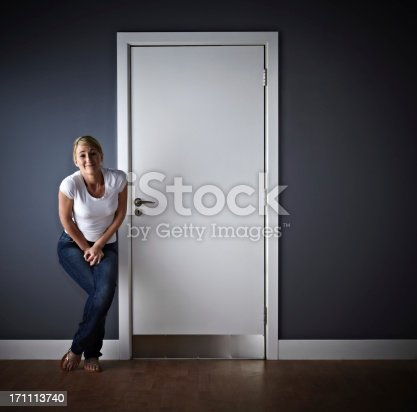 Desperate for a wee! Woman waiting outside ladies toilet