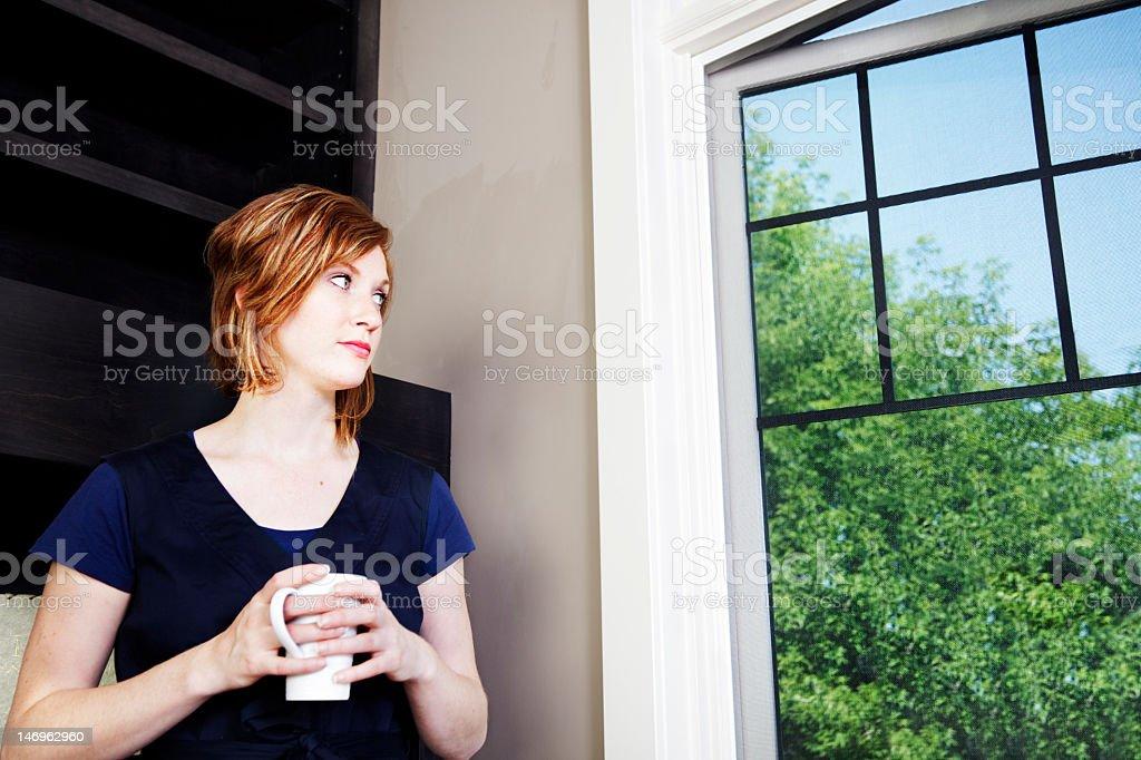 Woman waiting stock photo