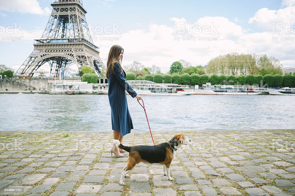 Woman Walking A Beagle On The Riverside In Paris stock photo