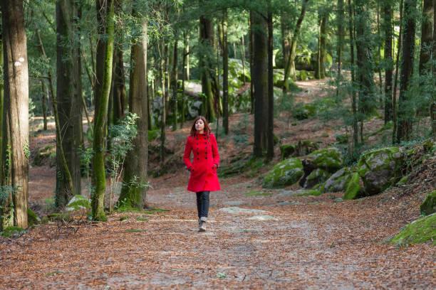 frau allein zu fuß auf einem waldweg mit einem roten langen mantel - winterjacke lang damen stock-fotos und bilder