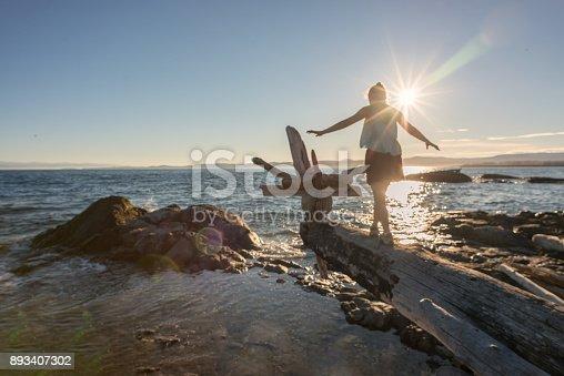 istock Woman Walking Along Log on Beach to Make Driftwood Sculpture 893407302