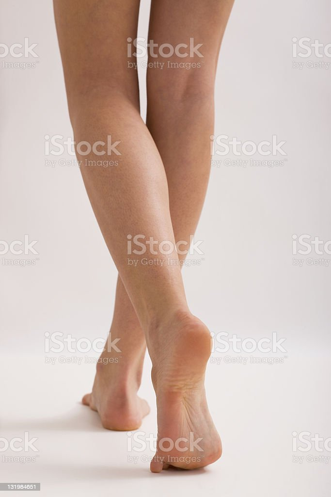 Woman Walking Barefoot stock photo
