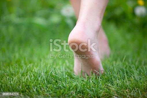 Female legs walking through grass