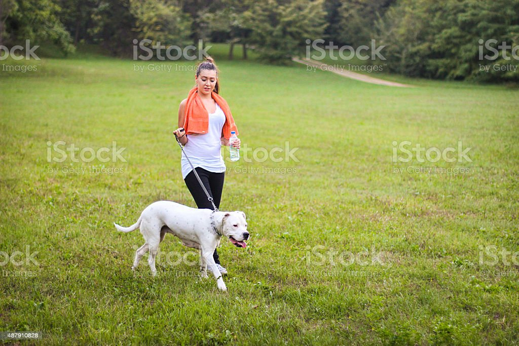 Woman walking her dog stock photo