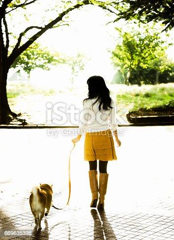 istock Woman Walking her Dog 669635398