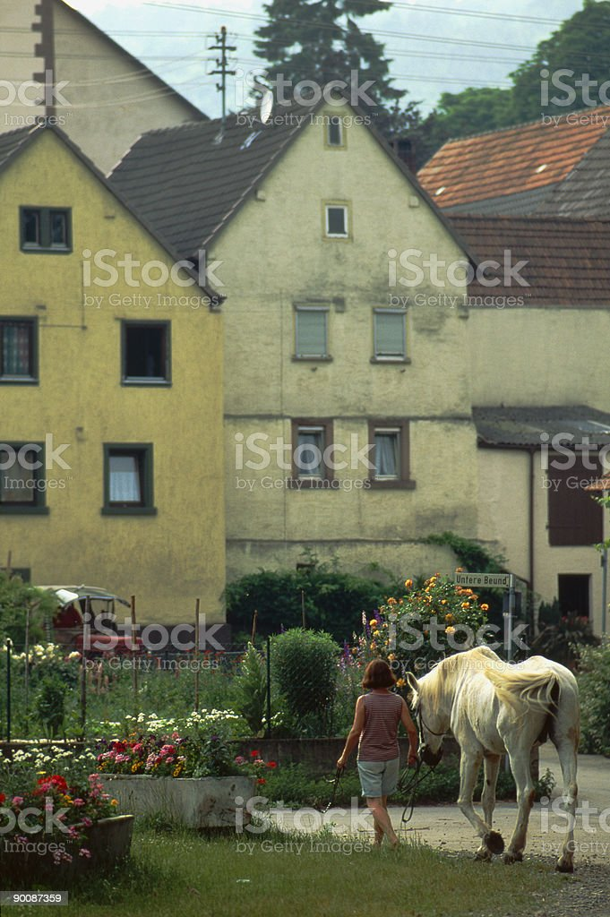 Woman walking horse Germany stock photo