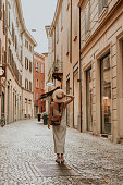 Woman walking in bologna