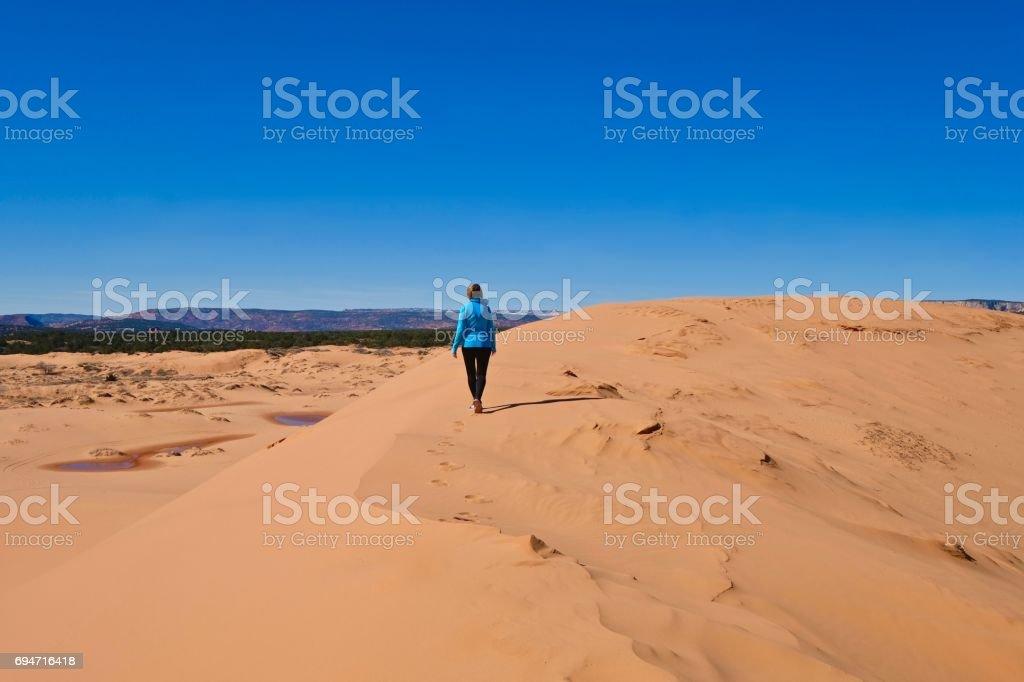 Woman walking in desert. stock photo