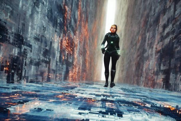 Woman walking in futuristic narrow street stock photo