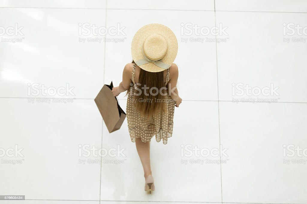 woman walking in shopping centre back view from above 1人の