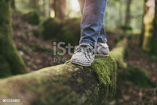 istock Woman walking on a log in the forest 901234952