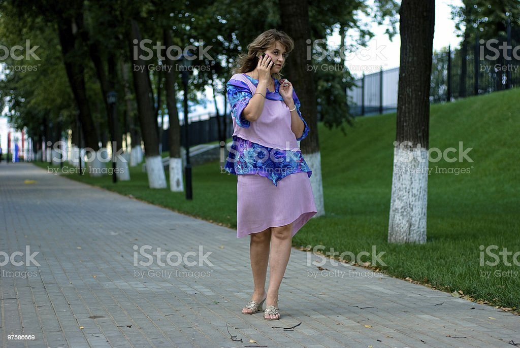 woman walking on park royalty-free stock photo