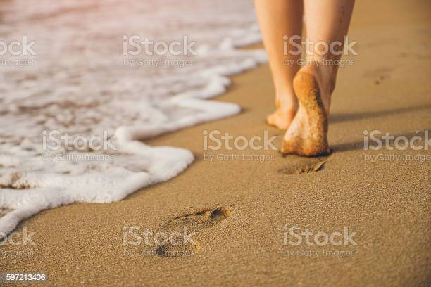 Woman walking on sand beach leaving footprints in the sand picture id597213406?b=1&k=6&m=597213406&s=612x612&h=qjqtyn8nqxobvl6jqcla6esji6plkwn6jezqiar8hrw=