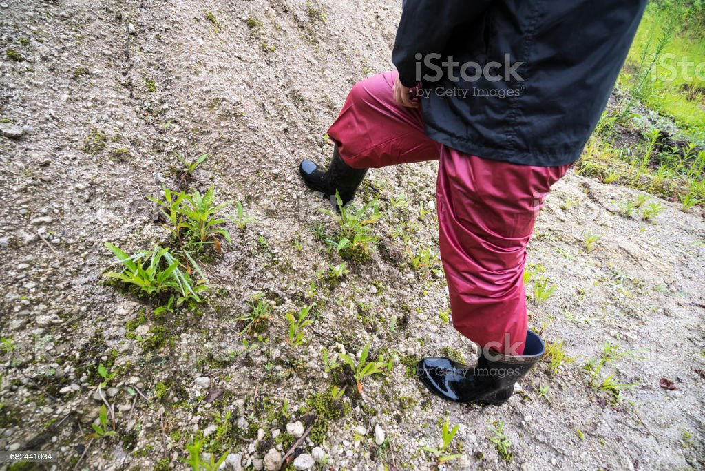 Woman walking on the soil royalty-free stock photo