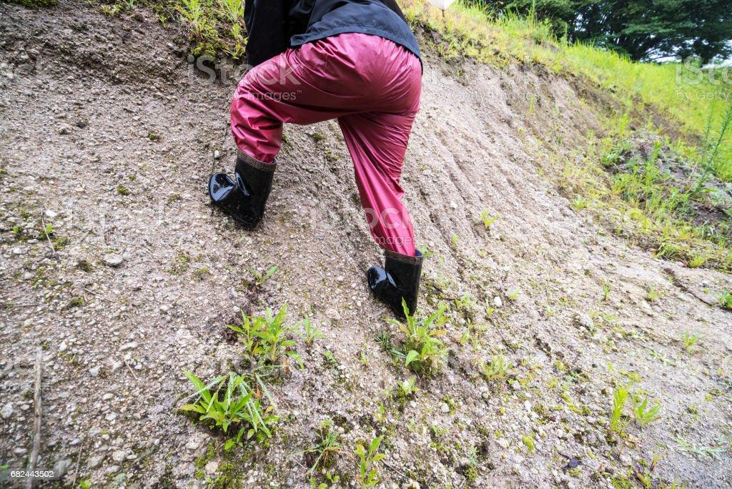 Woman walking on the soil royalty-free stock photo