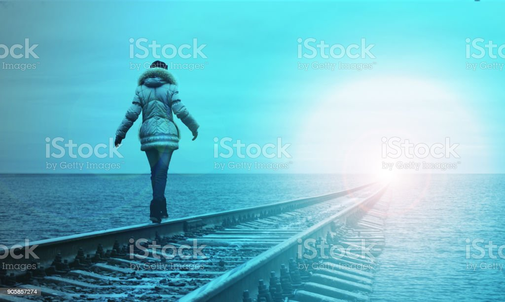 Woman walking stock photo