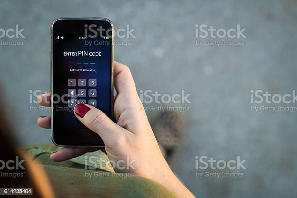 Woman Walking Smartphone Interface Pin Code Stock Photo - Download Image Now